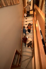 little kids running downstairs to see where the big …