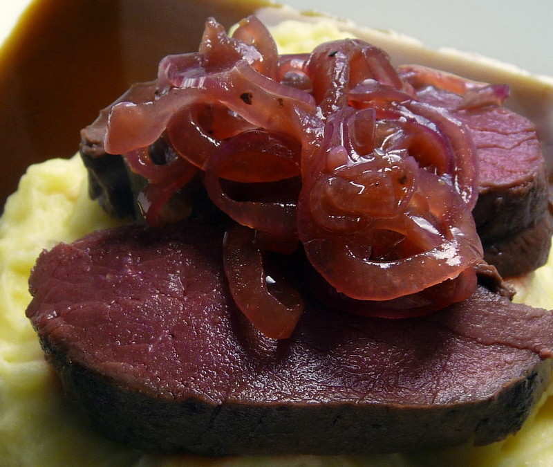 Reindeer with honeyed red onion pickle, porcini mash and rosemary infused red wine sauce