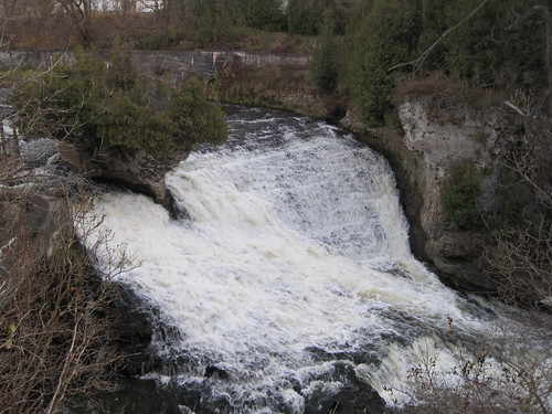 ontario canada heritage mill river island waterfall rocks industrial village power cliffs historic rapids kayaking limestone grandriver cascade islet elora gristmill factories toothoftime eloragorge eloramill isletrock elorafalls