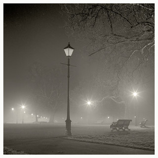 Autumn mist, night, Clapham Common.