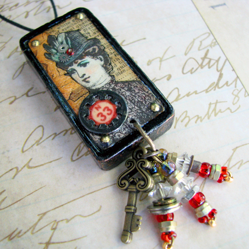 Steampunk Woman Domino Pendant
