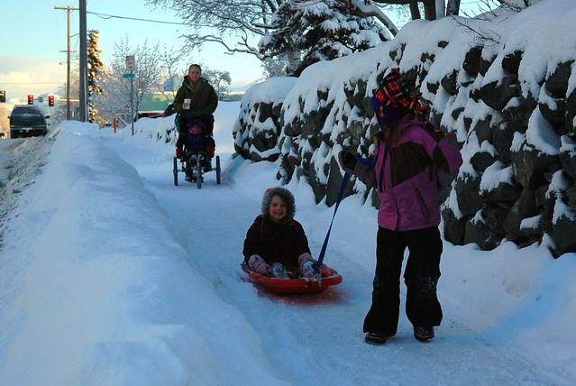 Kids sliding downhill in the fresh snow with the family, coats, Mom carrys a hot beverage, Christmas, South Addition, Anchorage, Alaska, USA
