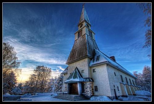 winter sun church clouds canon suomi finland eos rovaniemi explore 1022mm hdr 550d