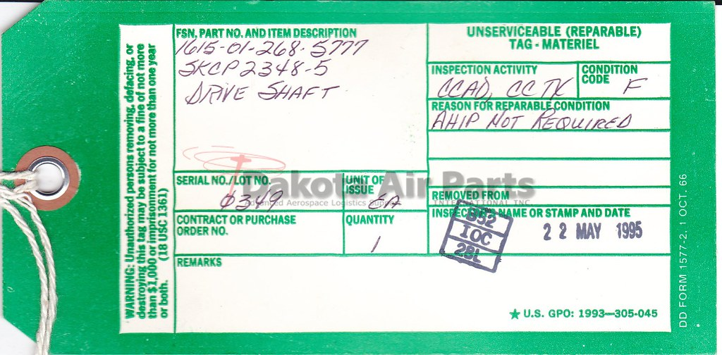 DD Form 1577-2, Unserviceable (Repairable)Tag-Materiel ...