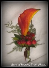 Corsage: Orange Calla Lily and Red Berries
