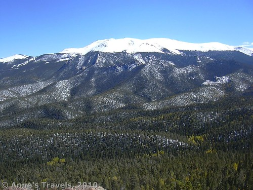 Pike's Peak with newly fallen snow from Raspberry Mountain, Colorado