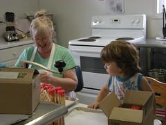 Gramma and Kai working in the kitchen