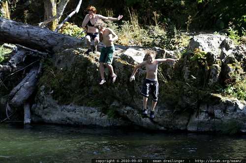 triple jump off the ledge into the river