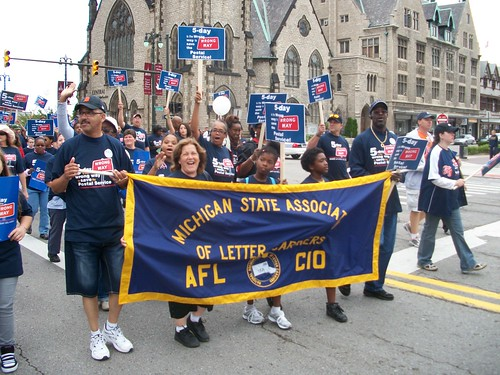 Michigan State Association of Letter Carriers, AFL-CIO members marching through downtown Detroit in the annual Labor Day march on September 6, 2010. The march attracted thousands of union members and their supporters. (Photo: Abayomi Azikiwe) by Pan-African News Wire File Photos