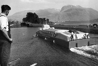 Denny Hovercraft D2-002 pictured entering the Caledonian Canal during its 820 mile voyage to the River Thames in 1963