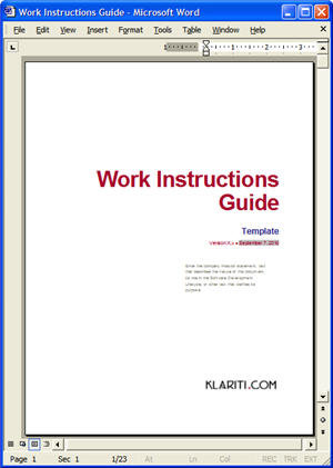 work instruction template