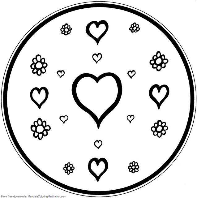 Printable Children Coloring Page Heart Amp Flower Mandala