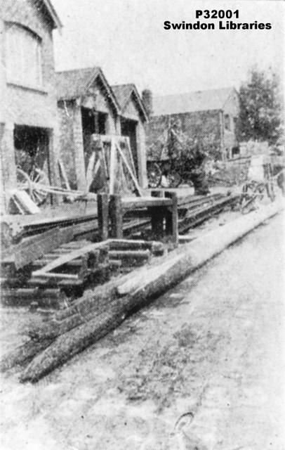1919:  Charred remains of flagpole burned during World War I Peace Celebrations (Corporation Yard, Swindon)