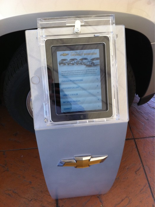 First time I had seen an iPad used as a mini kiosk. Nice @chevy