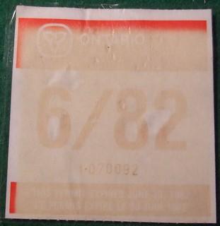 ONTARIO, JUNE 1982 ---QUARTERLY WINDSHIELD STICKER
