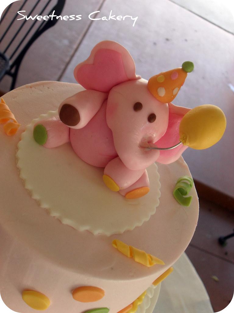 Pink Elephant Birthday Cake