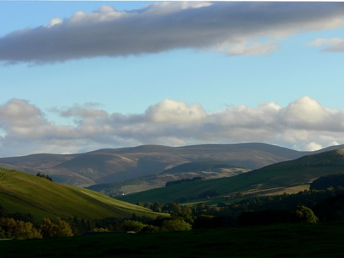 Sunlight on hills, Scottish borders, 2010