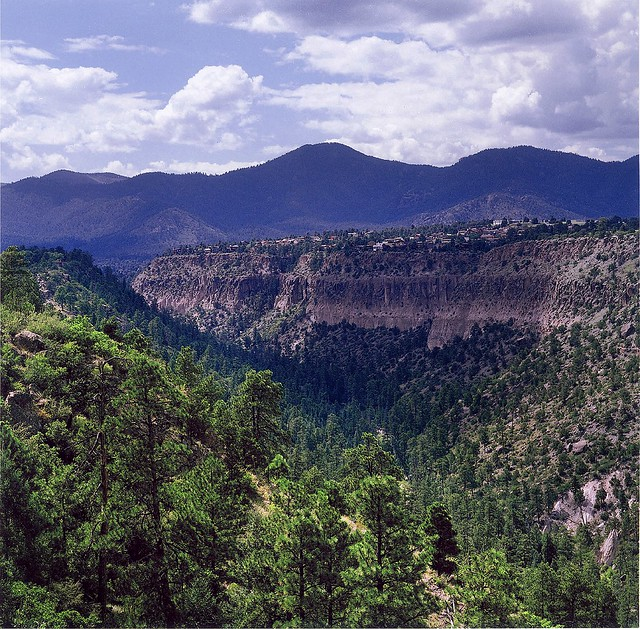 Aerial view of a valley in Los Alamos, New Mexico.