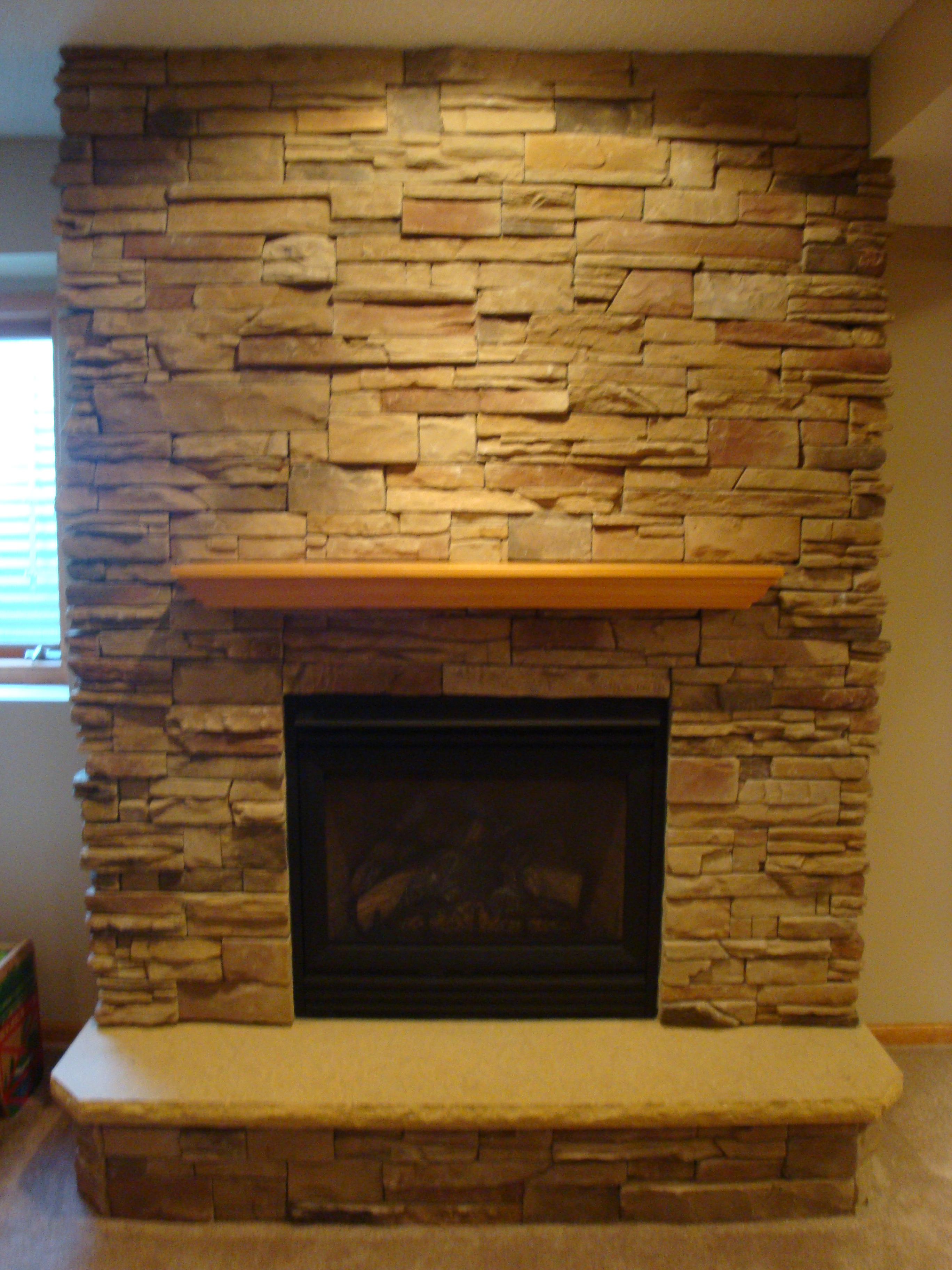 Dry Stack Cultered Stone Fireplace With Hearth Full View