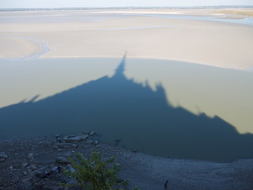 A dark shadow cast over the sunlit sands of a tidal inlet