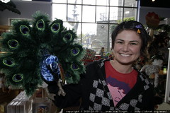rachel and her peacock puppet