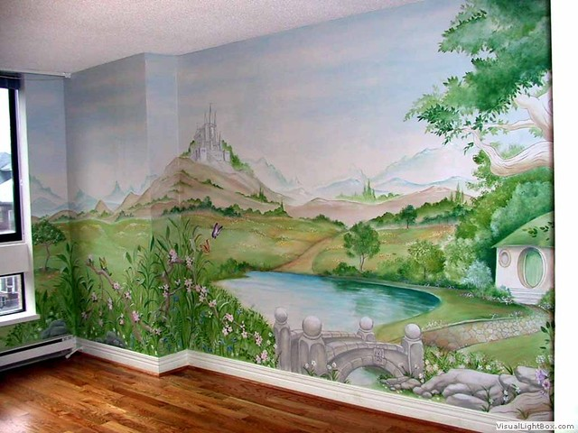 The Shire Mural A Whimsical Painting Depicting A Theme