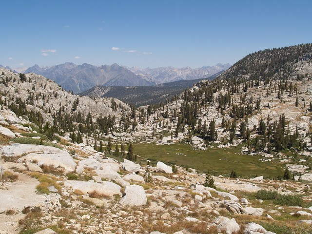Meadows on the Middle Fork of Dougherty Creek, as we descend North from Granite Pass.