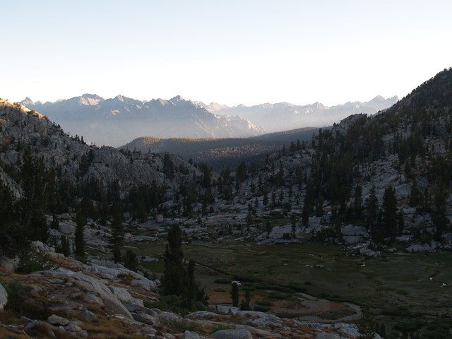 Dawn on the Simpson Meadows Trail, climbing up the Middle Fork of Dougherty Creek toward Granite Pass. There was frost on the meadow that morning. Cold!
