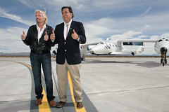 Sir Richard Branson and Governor Richardson give the spaceport a thumbs up. Photo by Jeffrey Vock