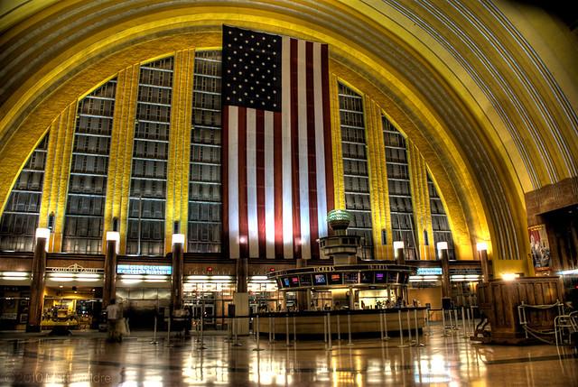 American flag hangs in Cincinnati Museum Center at Union Terminal