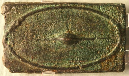 07/1 Aes Signatum Quincussis Bar. Oval shield from outside; oval shield from inside. About 270BC. On display in the British Museum