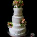 fall wedding cake with flowers and berries