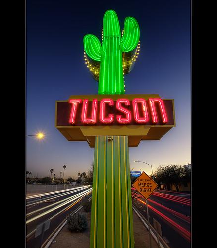 road blue arizona sign night canon vintage photography neon tucson miracle sigma hour gateway americana nik saguaro 1020mm hdr mile photomatix oldpueblo pimacounty dragondaggerphoto t1i thepinnaclehof kanchenjungachallengewinner thepinnacleblog northoracleroad tphofweek73