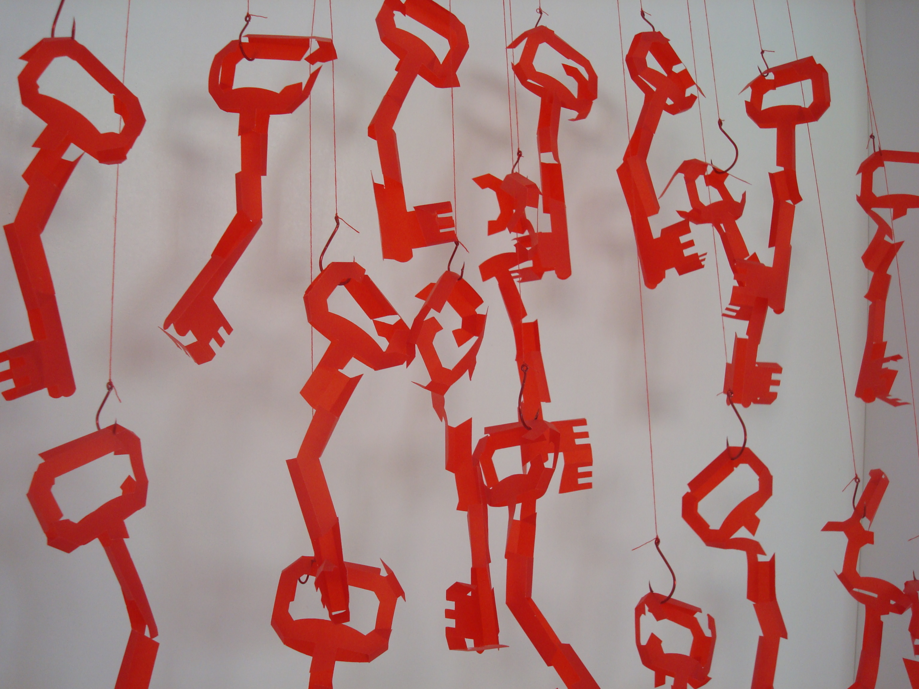 Red - paper, string, hooks