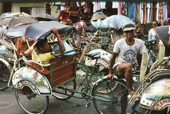 rickshaw, vehicle, land vehicle,