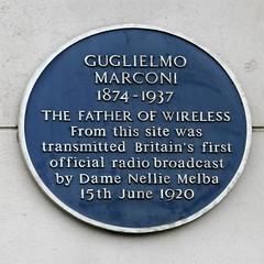 Photo of Guglielmo Marconi and Nellie Melba blue plaque