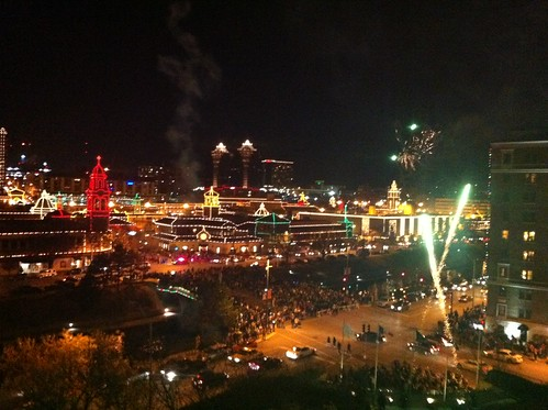 Plaza lights + fireworks