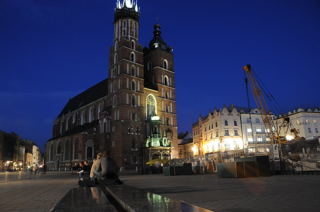 Krakow old town and city centre at night