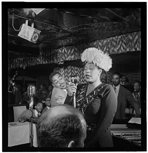 [Portrait of Ella Fitzgerald, Dizzy Gillespie, Ray Brown, Milt (Milton) Jackson, and Timmie Rosenkrantz, Downbeat, New York, N.Y., ca. Sept. 1947] (LOC)
