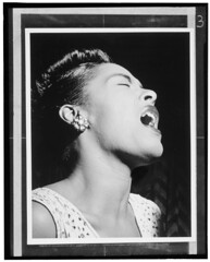 [Portrait of Billie Holiday, Downbeat, New York, N.Y., ca. Feb. 1947] (LOC)