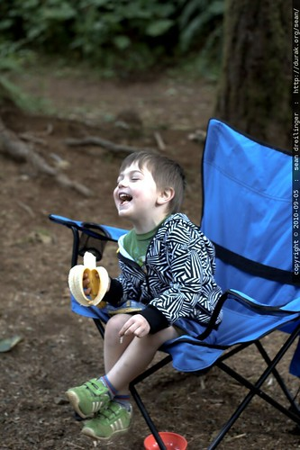 laughing and having a banana for breakfast