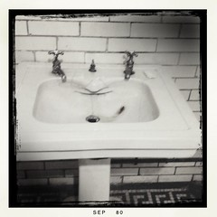 rectangle, monochrome photography, plumbing fixture, tap, ceramic, black-and-white, sink,