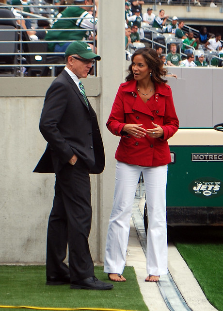 NY Jets owner, Woody Johnson, w/ Female Reporter