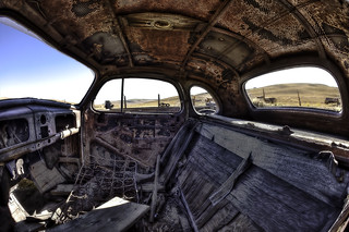 Bodie, ghost town, inside 37 Chevy.