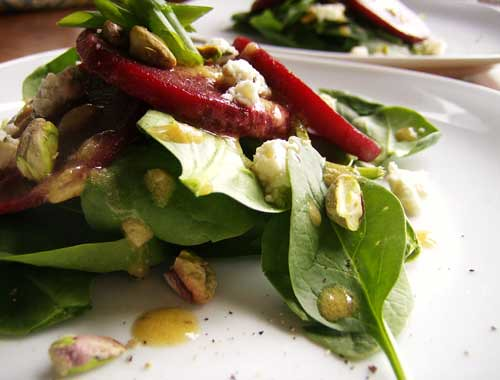 Warm Beet Salad with Pistachios and Gorgonzola