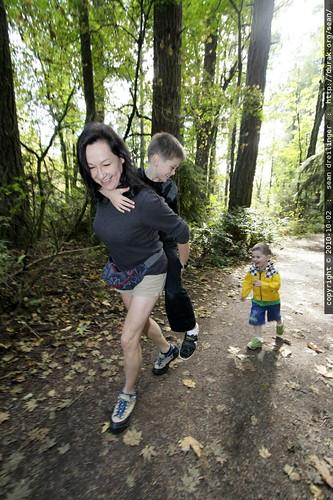 sequoia initiates a brotherly takedown maneuver