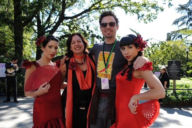 Director of public programs Anita Jacobs and Wes Matthews with the Chile Sisters at the Chile Pepper Fiesta 2010. Photo by Michael Ratliff.
