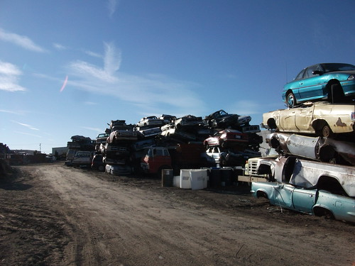 Cars awaiting shredding