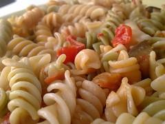 spaghetti(0.0), macaroni(0.0), produce(0.0), pici(0.0), common bean(0.0), pasta salad(1.0), fusilli(1.0), vegetarian food(1.0), pasta(1.0), food(1.0), dish(1.0), rotini(1.0), cuisine(1.0),