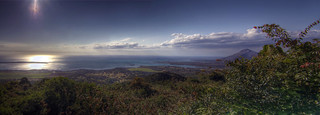 A panorama of the ocean from the west of Mauritius